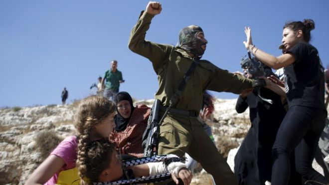 Image result for idf blindfolded palestinian conflict